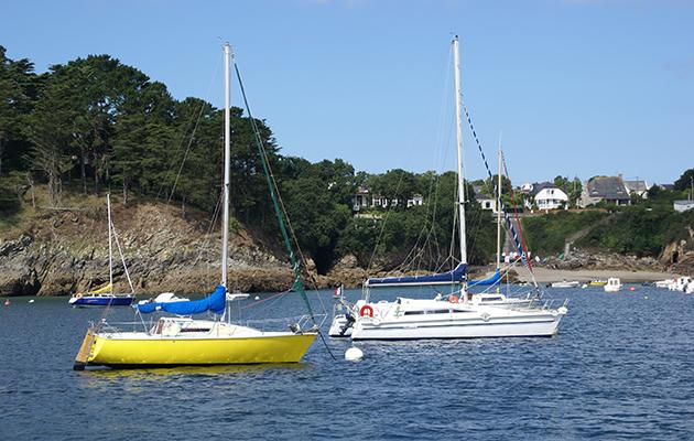 yachts moored at Anse de Berthaume