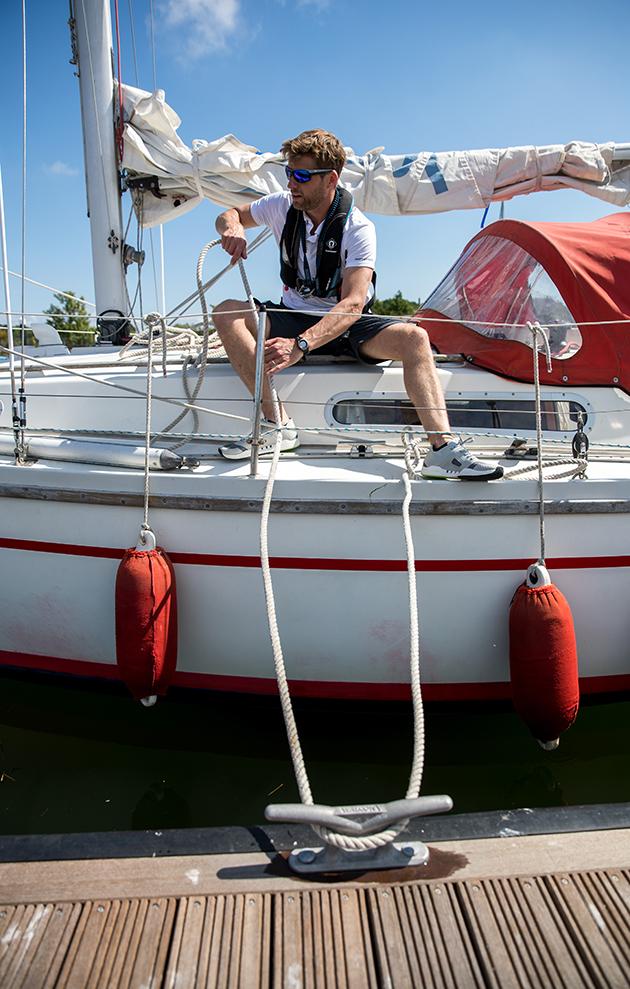 A Sadler 29 moored against a pontoon