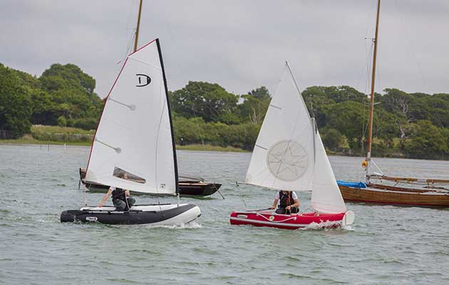 Six inflatable sailing dinghies were tested by the team