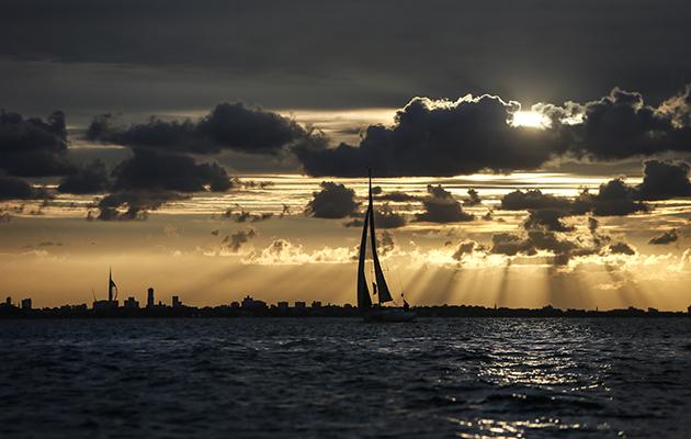 A yacht sailing at Night