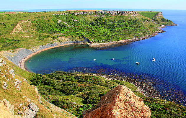 Yachts moored at Chapman's Pool, also known as Chapmans Pool in Dorset