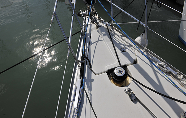 The bow of a yacht