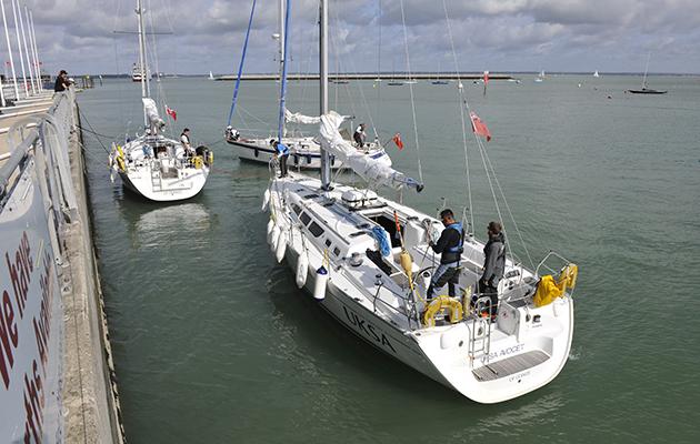 Yachts leaving a raft
