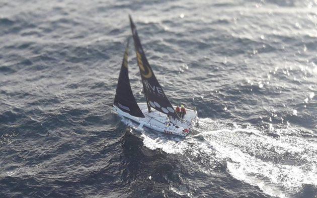 Pamela Lee and Catherine Hunt sailing their Beneteau Figaro III across Donegal Bay. Credit: Rescue 118/Irish Coast Guard