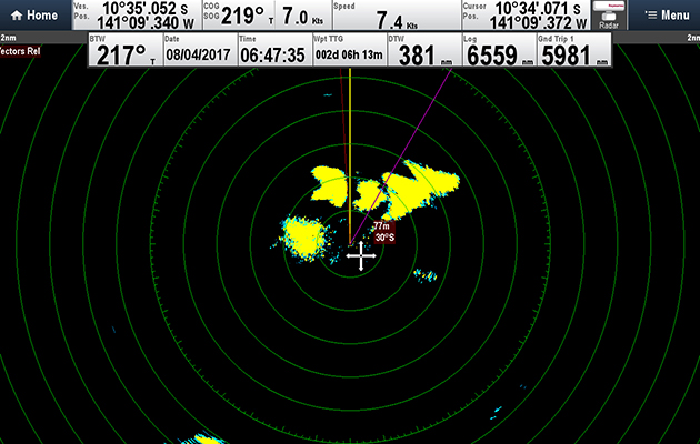 A rain shower showing on radar