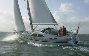 A yacht sailing through gusts