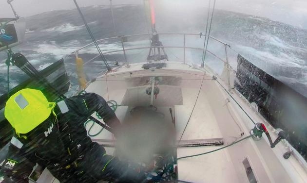 Mark Slats sailing in heavy seas during the Golden Globe Race 2018