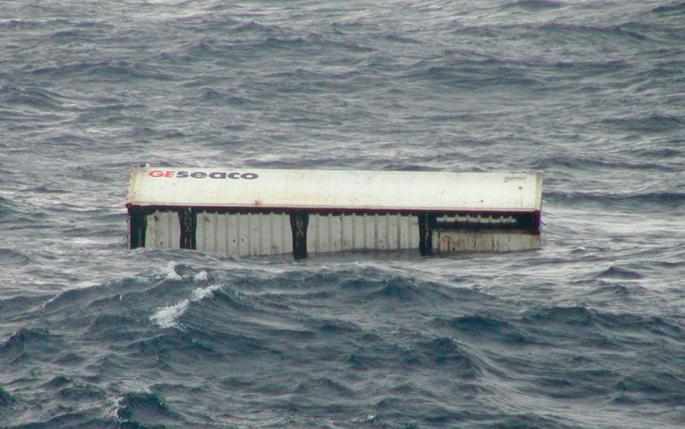 A container floating in the sea