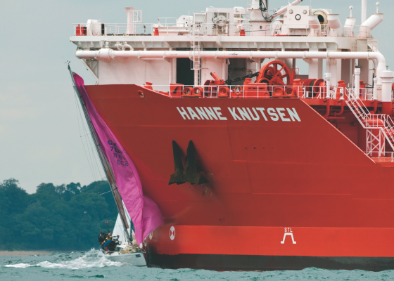 A yacht colliding with a tanker in the Solent