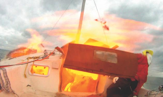 A yacht on fire