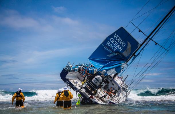 Team vestas on a reef in the Indian Ocean