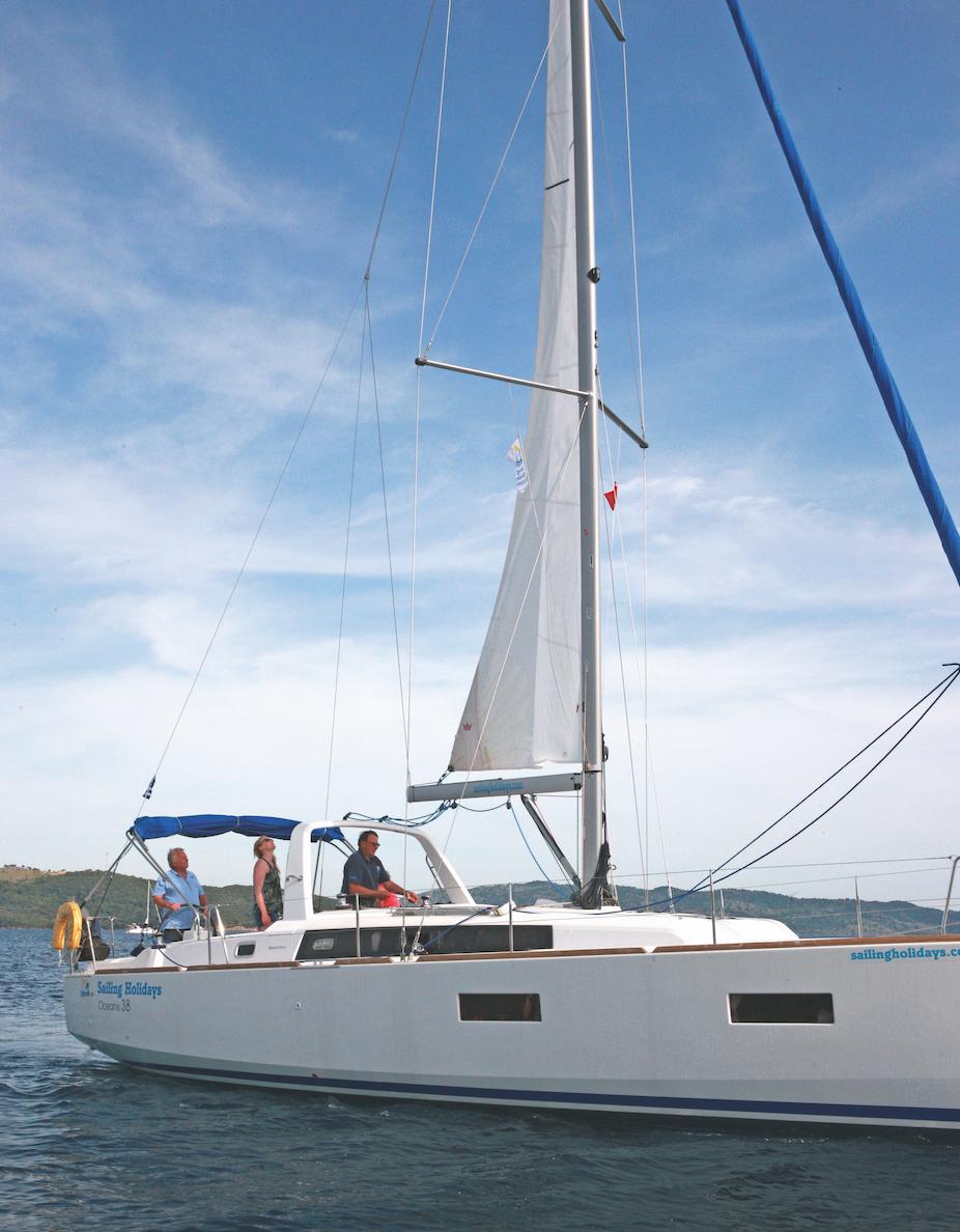 A yacht undersail