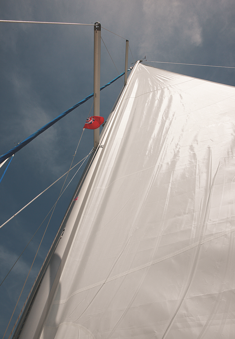 A sail showing halyard tension