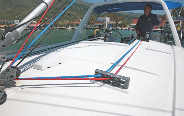 Reefing lines on a boat