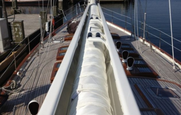 In boom furling system on a yacht