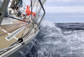 A yacht storm sailing through the ocean
