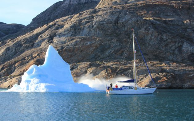 Brian Black close to capsizing iceberg in Greenland
