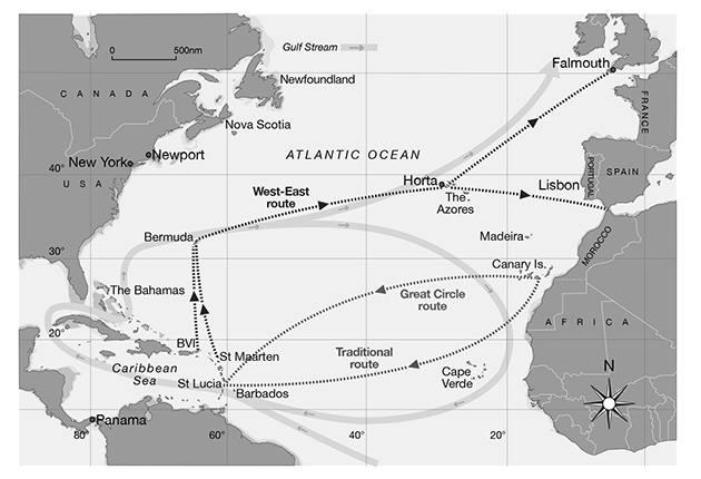 Routes for sailing across the Atlantic