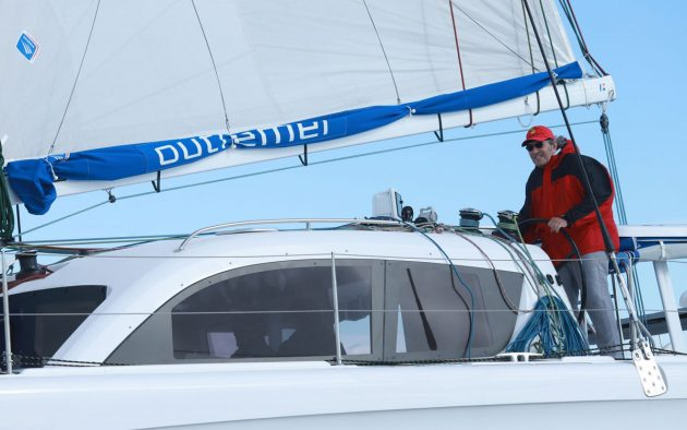 Jimmy Cornell at the helm. CREDIT: GILLES FOUCRAS