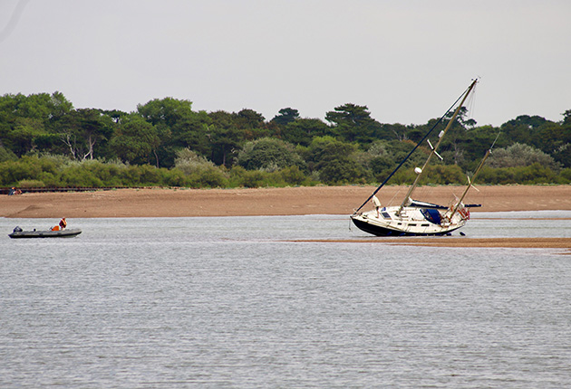 A yacht dried out