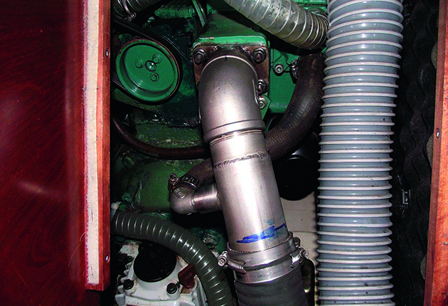 The exhaust on a boat