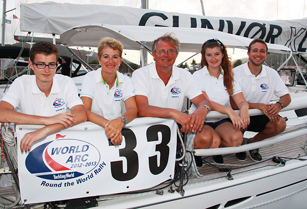 A crew on a yacht about to sail across the Atlantic on the ARC