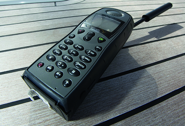 A satellite phone on the deck of yacht