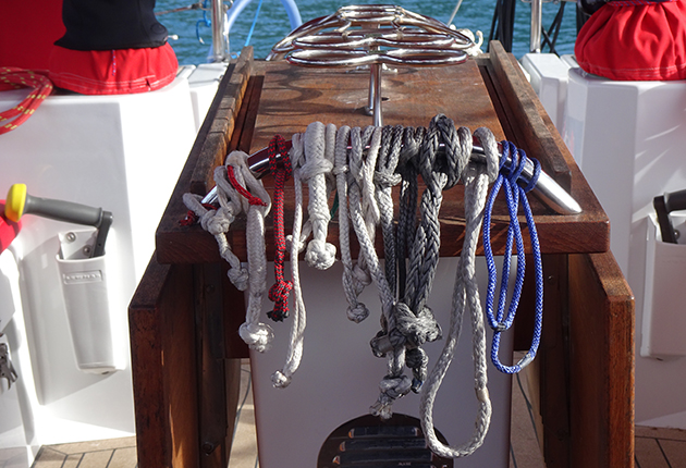 Soft shackles in a cockpit ofa yacht