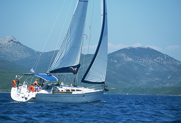 A yacht sailing in Greece