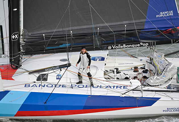 Clarisse Cremer crossing the finish line in the 2020 Vendee Globe