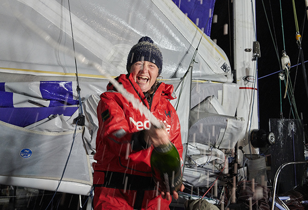 Pip Hare having finished the 2020 Vendee Globe