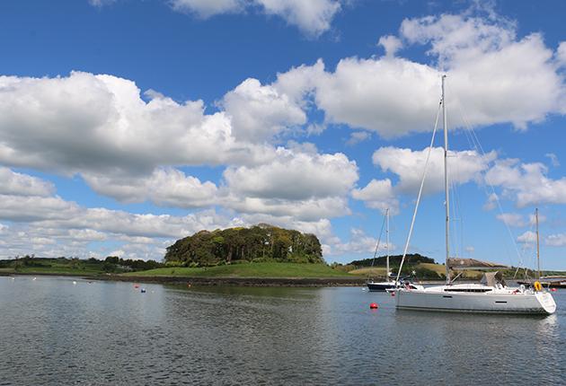 A yacht moored at Gibbs Island, Strangford Lough, Northern Ireland