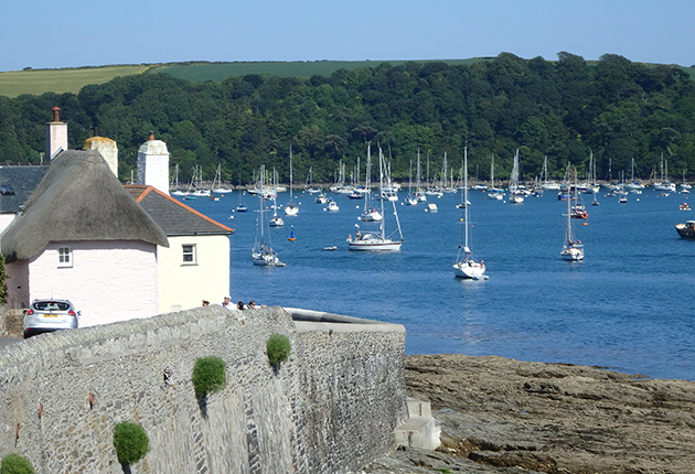 Yachts anchored off St Mawes in Cornwall