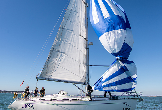A twisted spinnaker on a yacht in the Solent