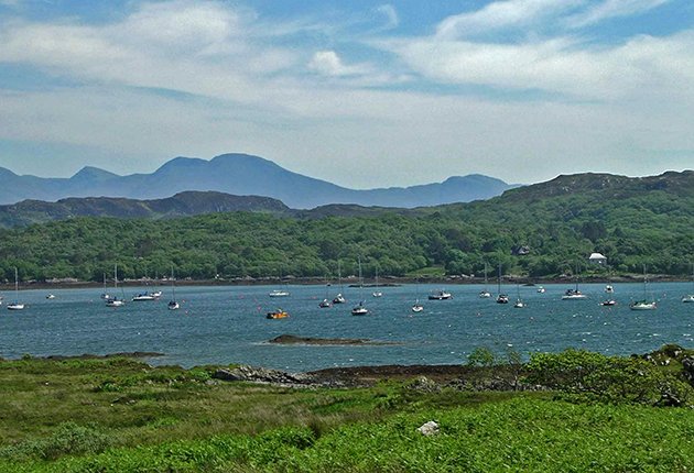 Yachts moored at Arisaig in Scotland in the summer