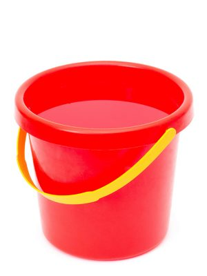 Water in a red bucket with a yellow handle