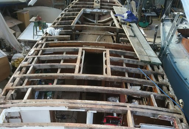 Stripped back deck of Lively Lady during her restoration