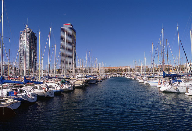 Boats moored in Europe at Barcelona marina