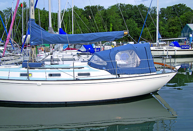 A yacht moored in a marina