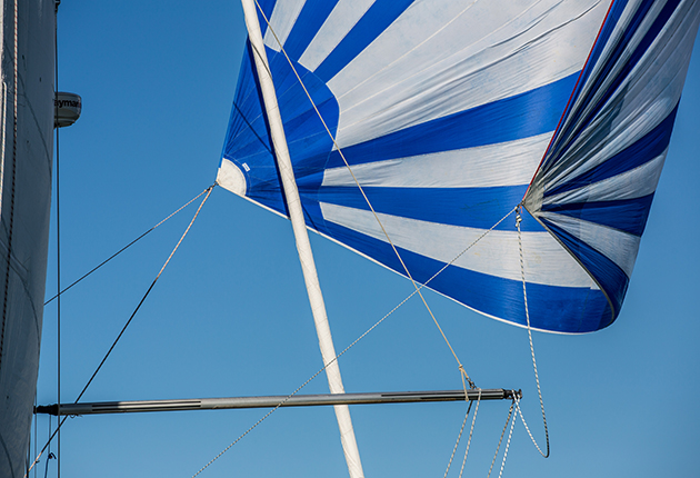A pole gybe with a spinnaker