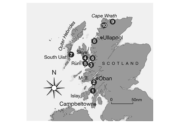 Chart of Scottish anchorages on the west coast of Scotland
