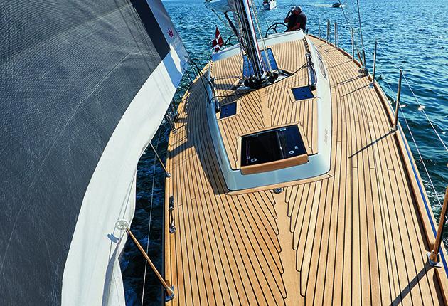 A teak deck on a Faurby yacht