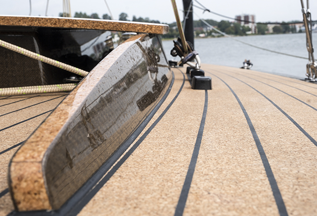 A cork deck on a yacht
