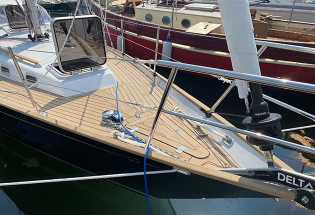 A synthetic teak yacht deck