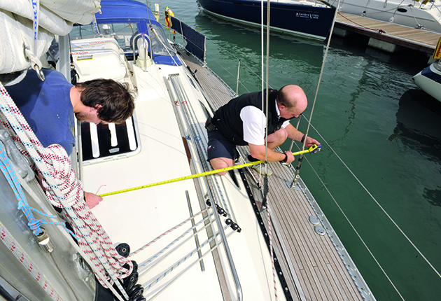 Boat rig checks: Measure from the bow and the centreline to check chainplate position isn't an issue