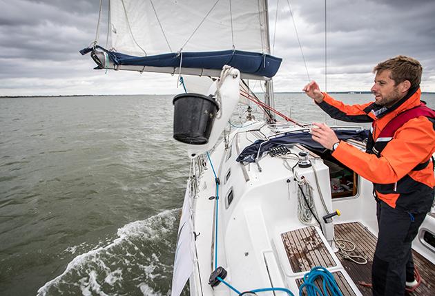 Practicing MOB as part of shakedown sailing skills