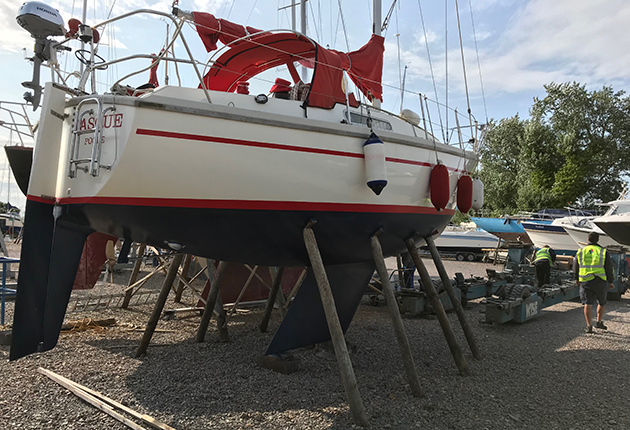 A boat which had been freshly antifoul painted