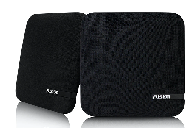 Fusion Shallow Mount Speakers which can be used with a marine stereo