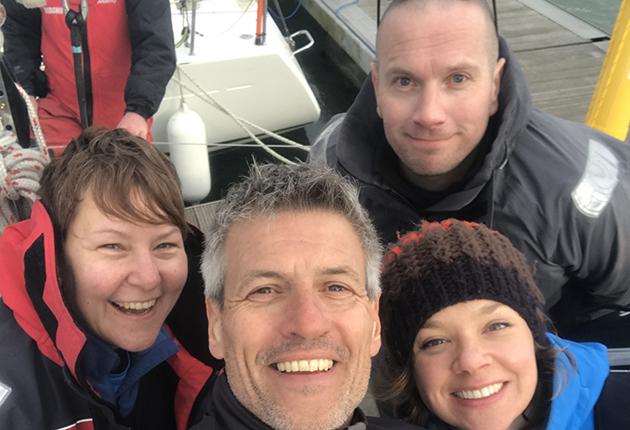 A race crew on a yacht