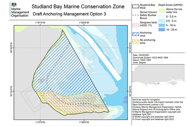 Draft Anchoring Management Option 3 for Studland Bay Marine Conservation Zone. Credit: